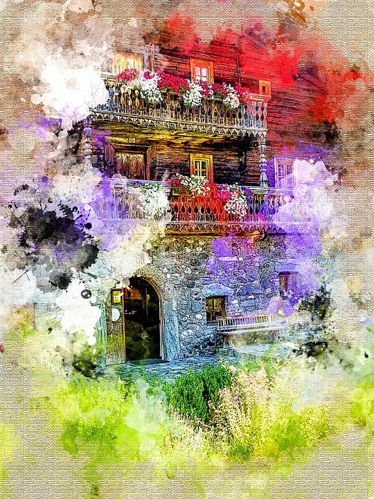 Farmhouse, Photo Manipulation, Watercolour, Embroidery