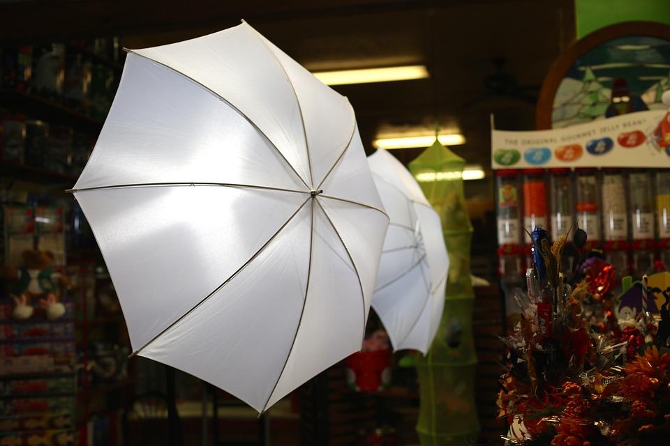 Umbrella, Lights, Camera, White, Photo, Photography
