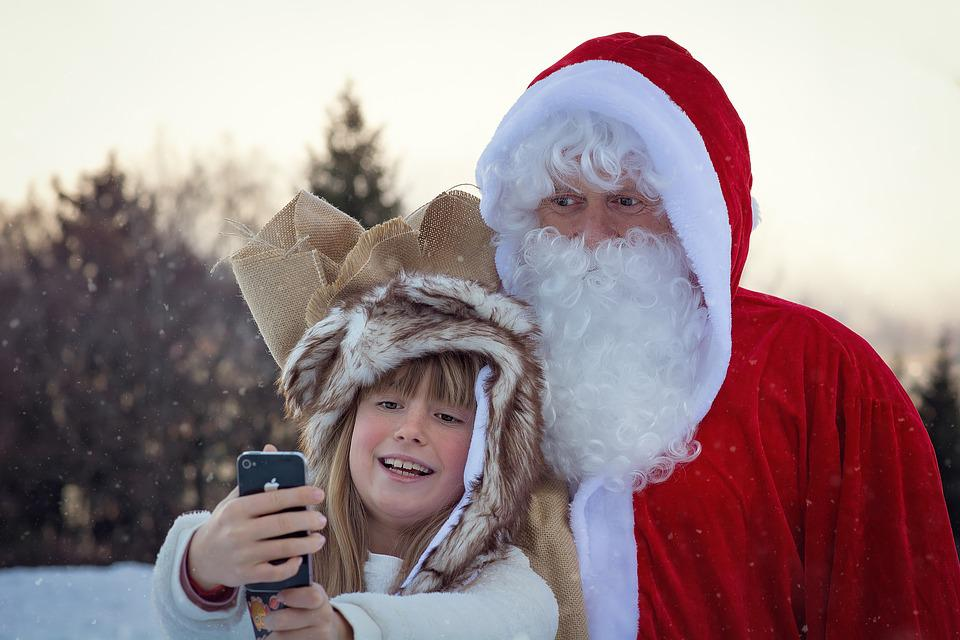 Christmas, Santa Claus, Caught, Photograph, Selfie