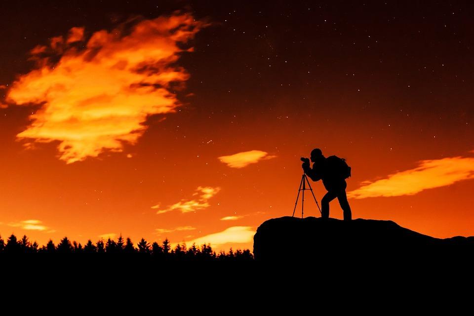 Landscape, Camera, Silhouette, Photographer, Night