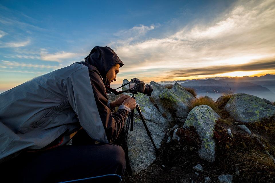 Photographer, Sunset, Landscape, Mountain