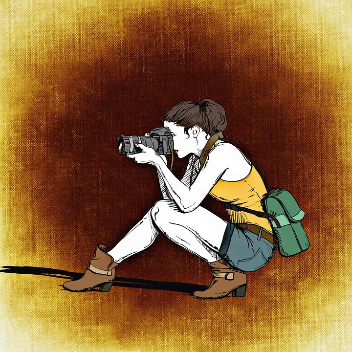 Photographer, Woman, Camera, Lens, Photograph