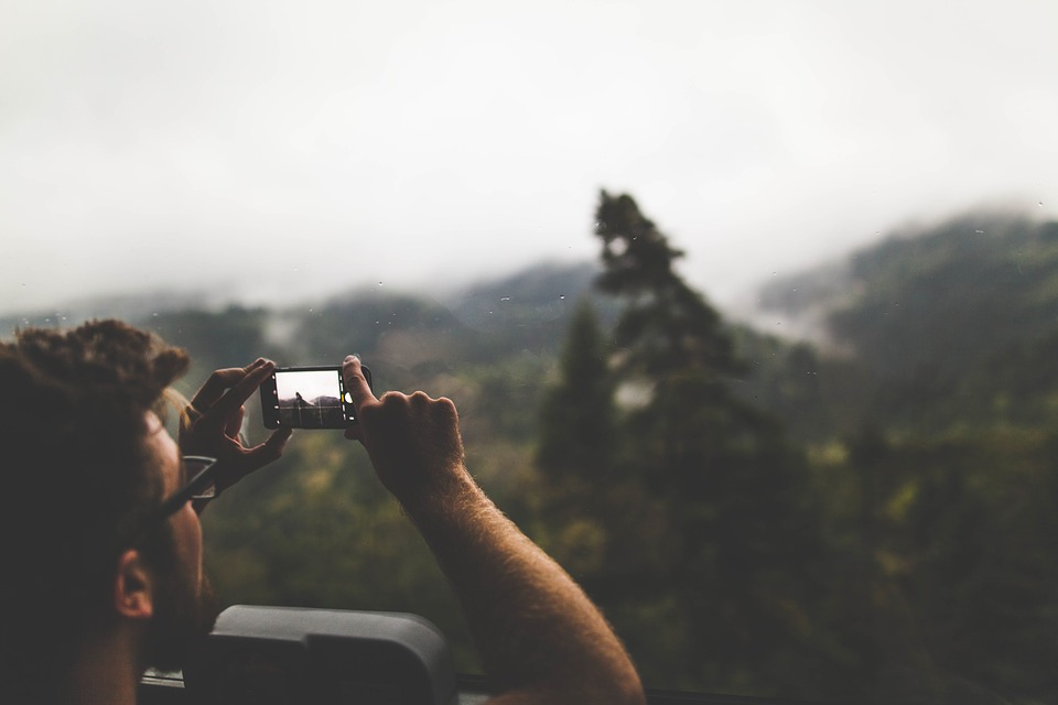 Sky, Mountain, Camera, Phone, People, Man, Photography