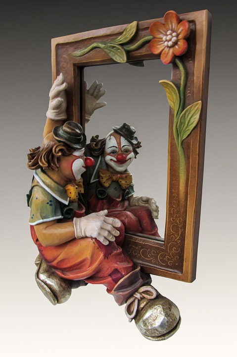 Clown, Mirror, Photomontage, Image, Picture Frame