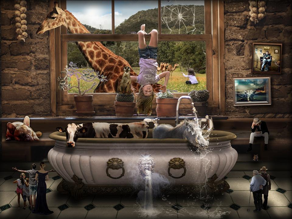Composing, Anomaly, Photomontage, Giraffe, Surreal