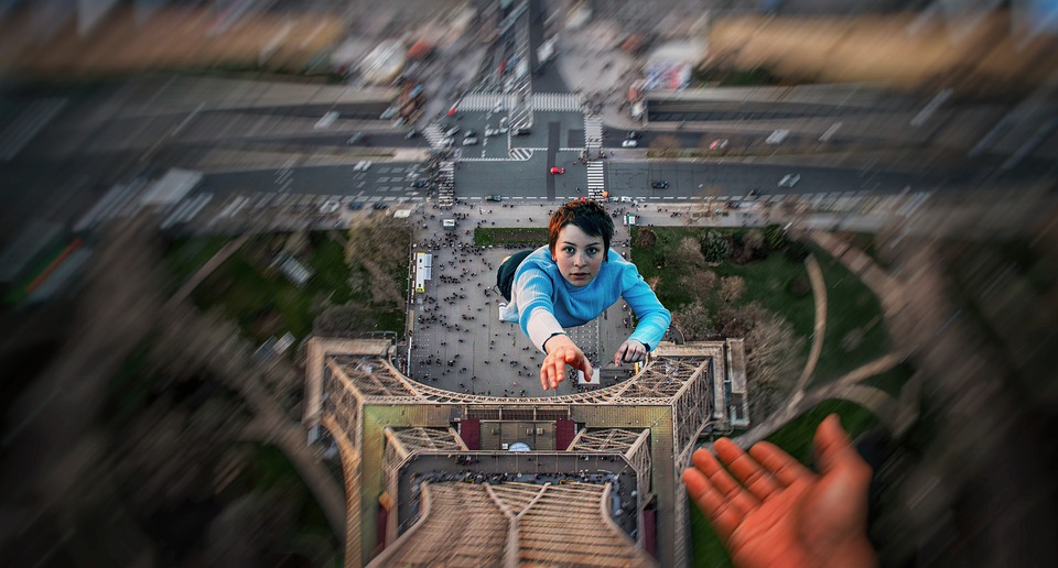 Human, Fall, Person, High, Photomontage, Hand, Risk