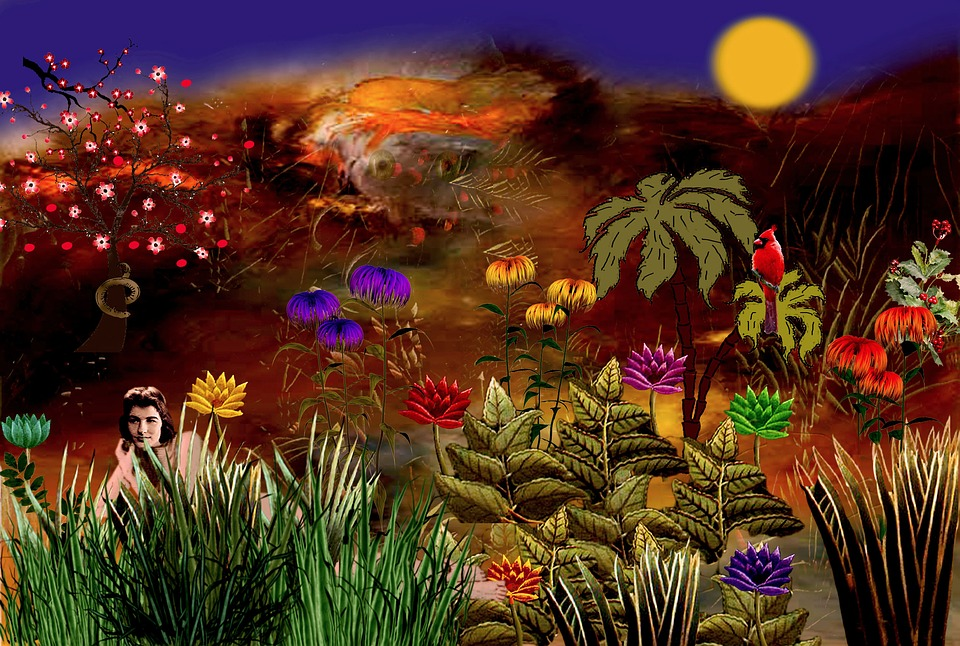 garden eden colorful flowers plant photoshop - Eden Garden