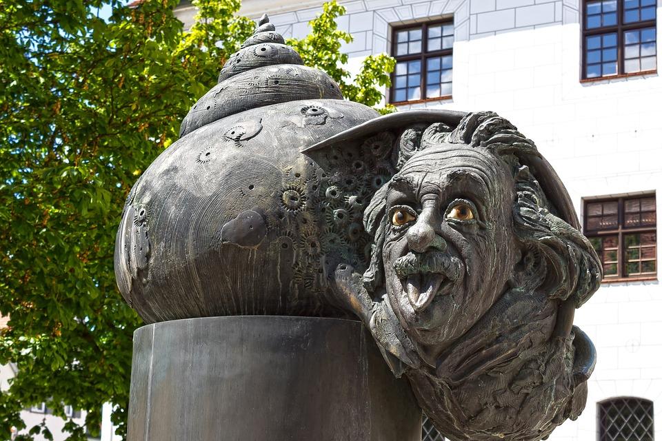 Albert Einstein, Ulm, Sculpture, Fountain, Physicist