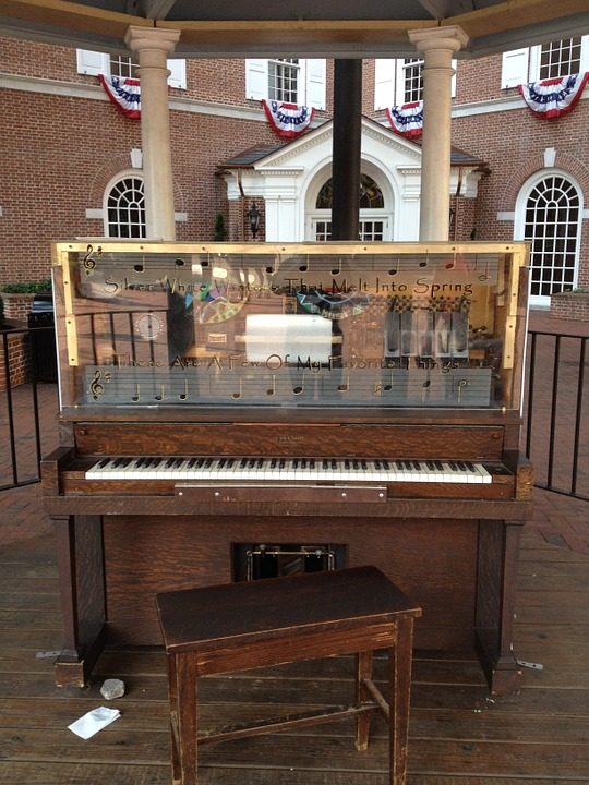Piano, Historic, Downtown, Old, Instrument