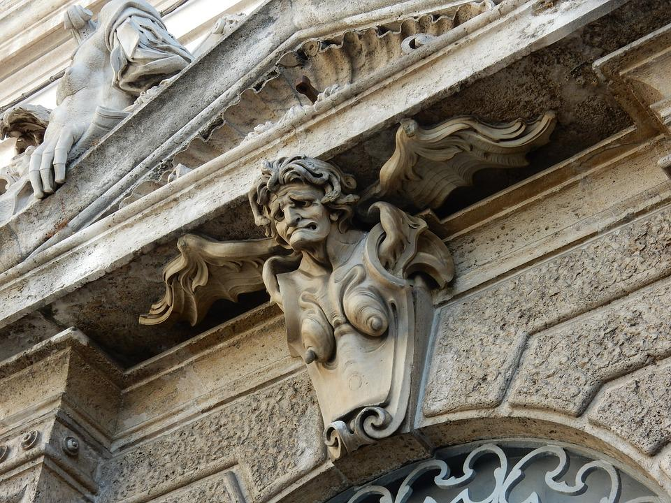 Angel, Ugly, Old, Head, Rome, Piazza De Quirinale