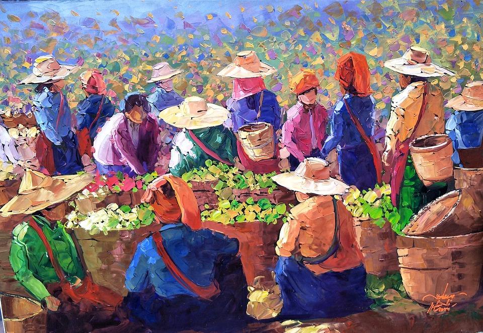 Art, Painting, Tea, Pickers, Women, Sacks, Tea Leaves
