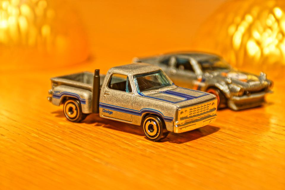 Toy Car, Model Car, Gold, America, Silver, Pickup