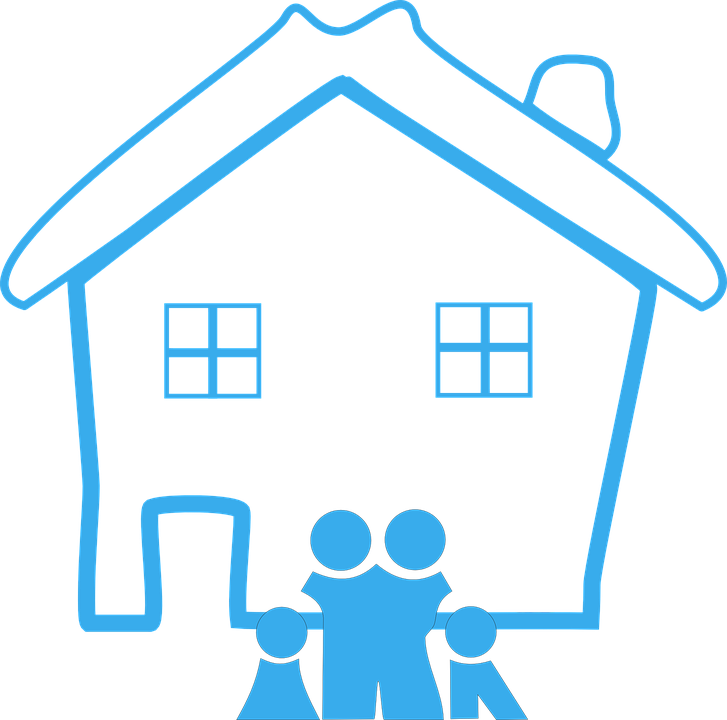 Home, Family, House, Design, Happy, Blue, Pictogram