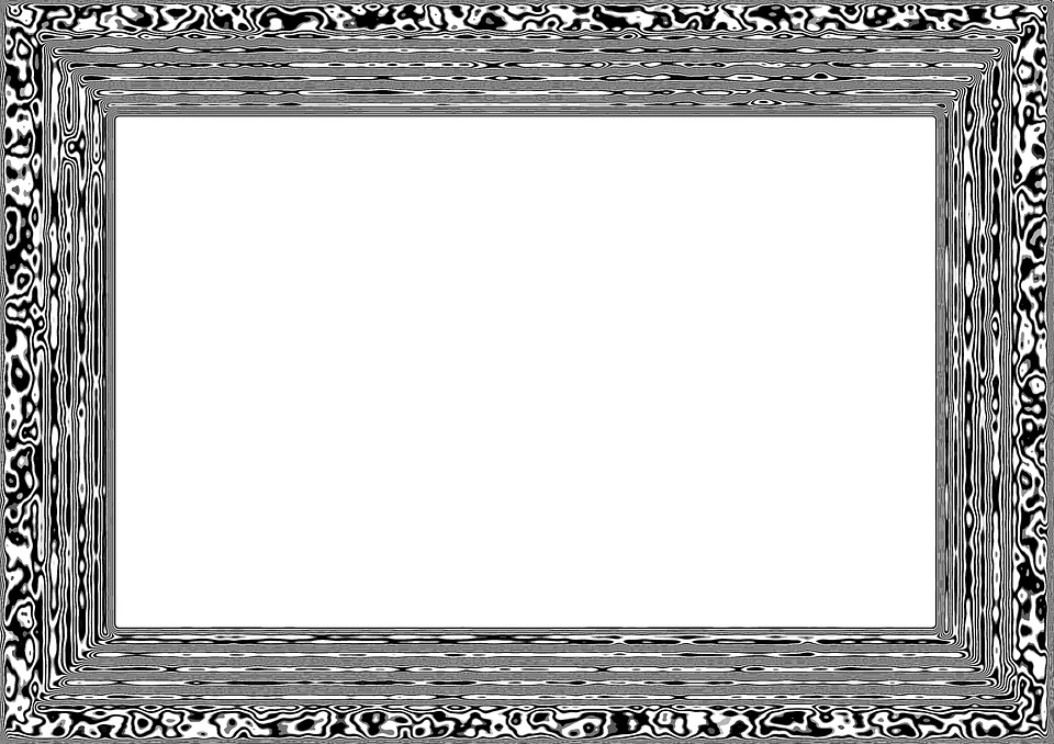 Frame, Picture Frame, Outline, Black, White, Line