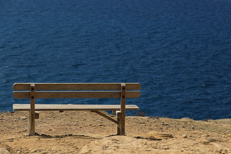 Bank, Sea, Wooden Bench, Seat, Picturesque