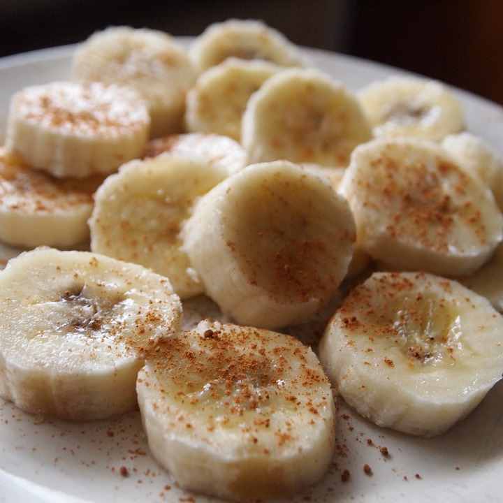 Banana, Cutting, Pieces, Cinnamon, Board