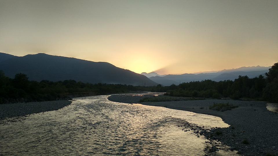 Piedmont, Sunset, Stura, Piemonte, Landscape, Vista