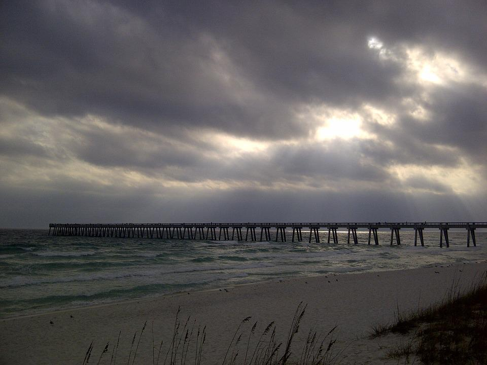 Beach, Cloud, Pier, Ocean