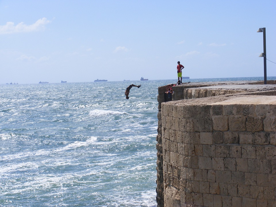 Cliff Jump, Dock, Quay, Pier, Jumping, Water, Sea