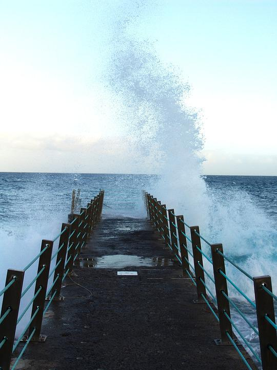 Water, Sea, Coastline, Storm, Splash, Pier