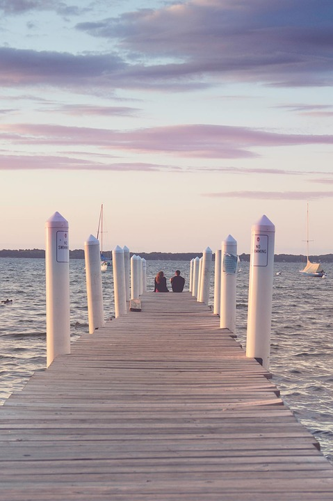 Sunset, Couple, Water, Sailboats, Summer, Lake, Pier