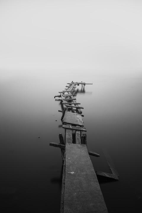 Calm, Dock, Fog, Jetty, Mist, Monochrome, Ocean, Pier