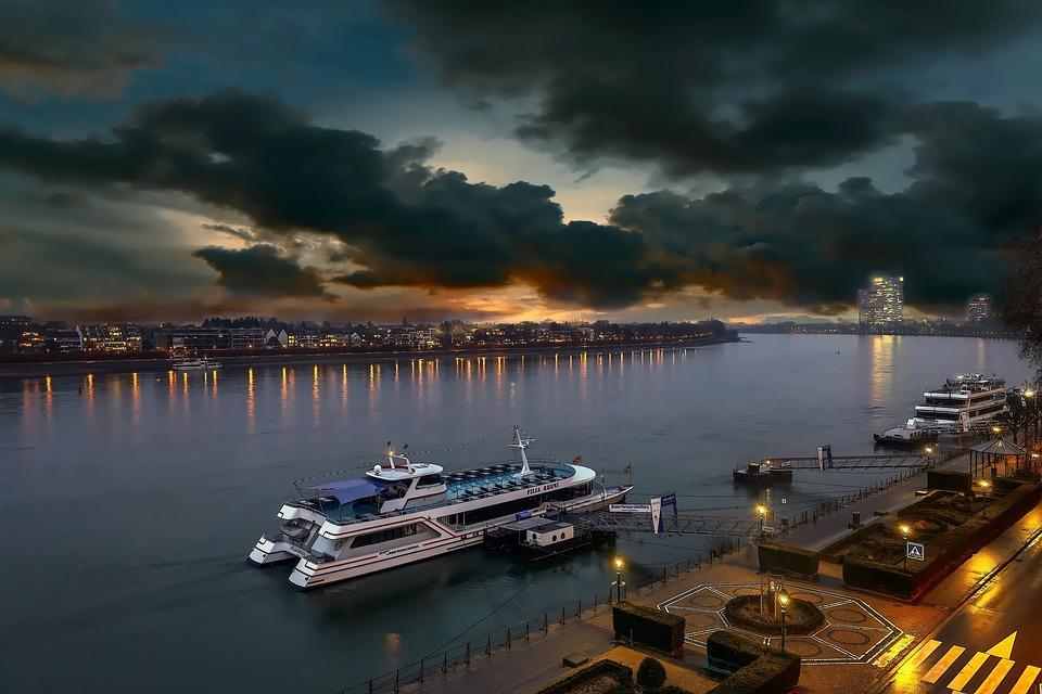 Bonn, Rhine, Dusk, Pier