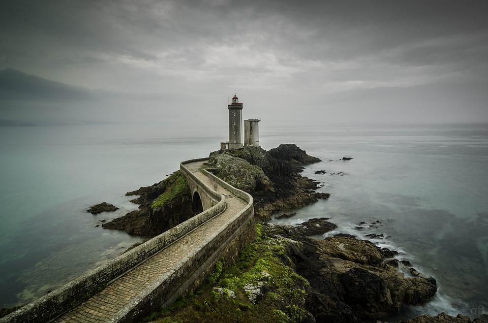 Lighthouse, Bridge, Crossing, Pier, Rocks, Sea, Coast
