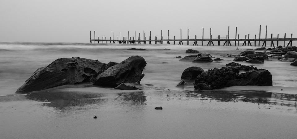Pier, Pebble, Beach, Evening, Sky, Side, Roller, Island