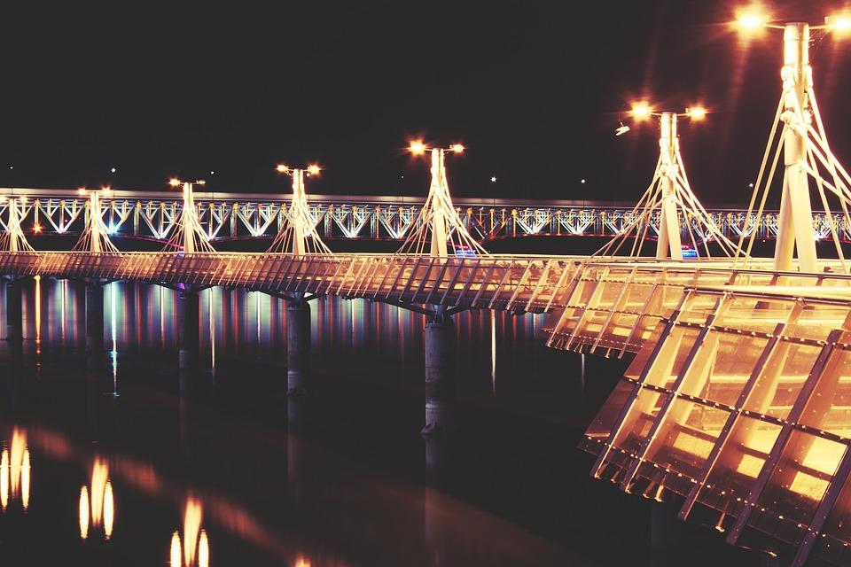 Pier, Lights, Plock, Night, River