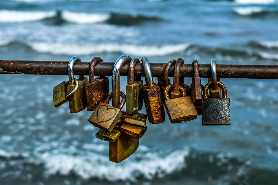 Love, Rusty, Heart, Padlock, Rust, Pier, Larnaca