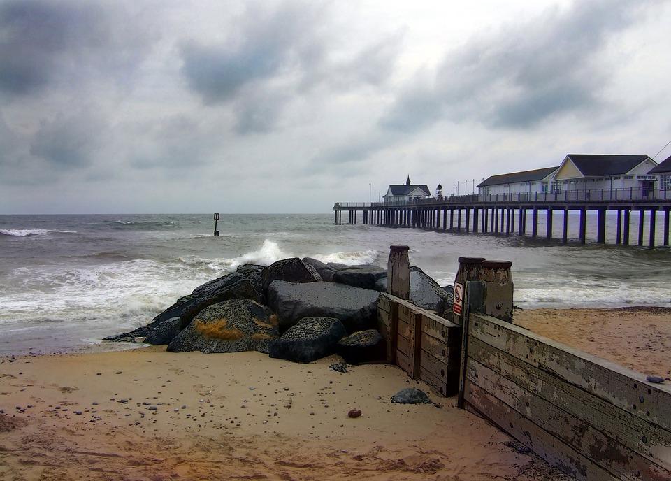 Southwold, Pier, Beach, Sea, Sky, Seaside, Scenic