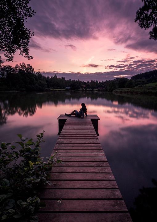 Girl, Pier, Sunset, Lake, Evening, Dusk, Bavaria