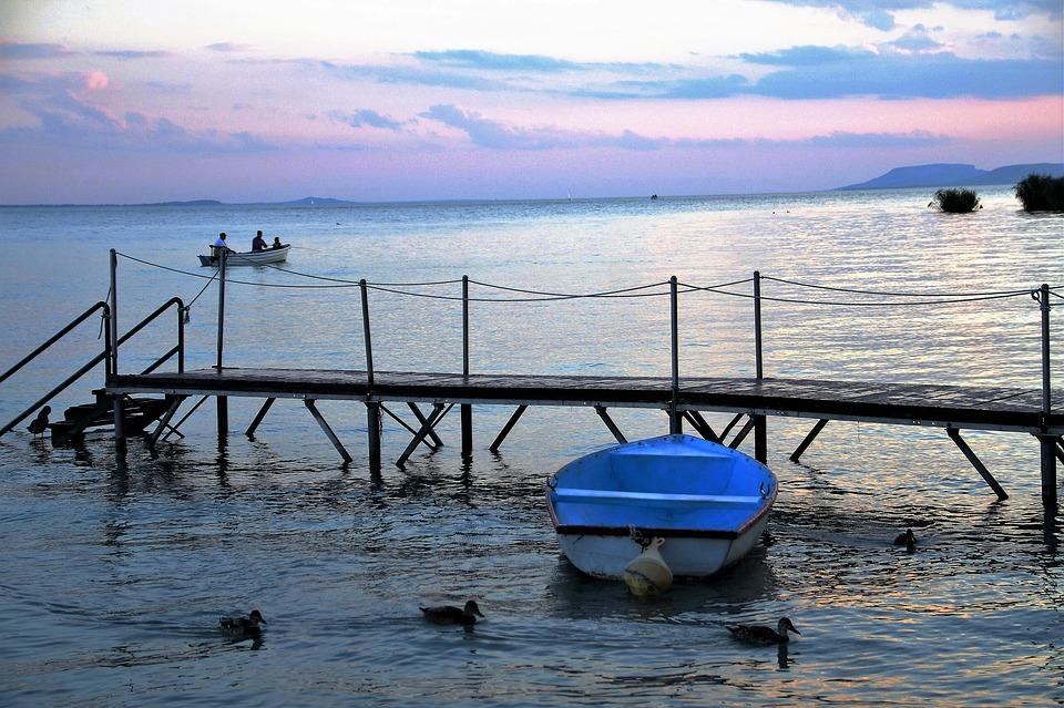 Rowboat, Lake, Evening, Twilight, Pier, Dawn, Balaton