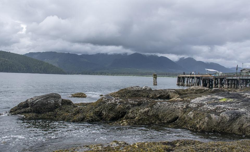 Rocks, Wind, Pier, Sea, Clouds, British Columbia