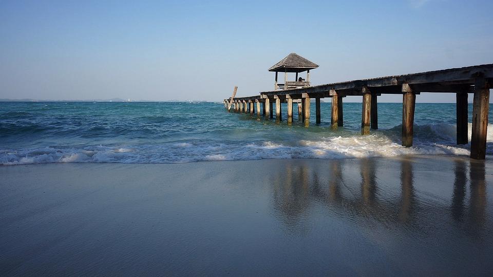 Pierce, Sea, Seascape, Wave, Horizon, Pier, Evening