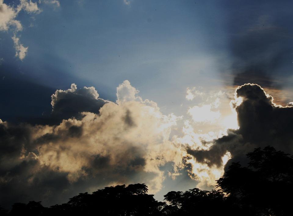 Clouds, White, Irregular, Sun, Piercing, Radiant, Shiny