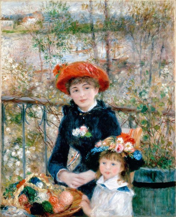 Sisters, Girl, On The Terrace, Pierre Auguste Renoir