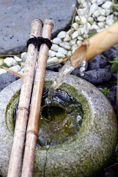 Fountain, Water, Garden, Bubble, Pierre, Japanese