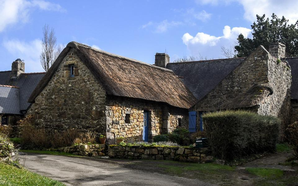 House, Pierre, Field, Village, Rustic, Thatch, Brittany