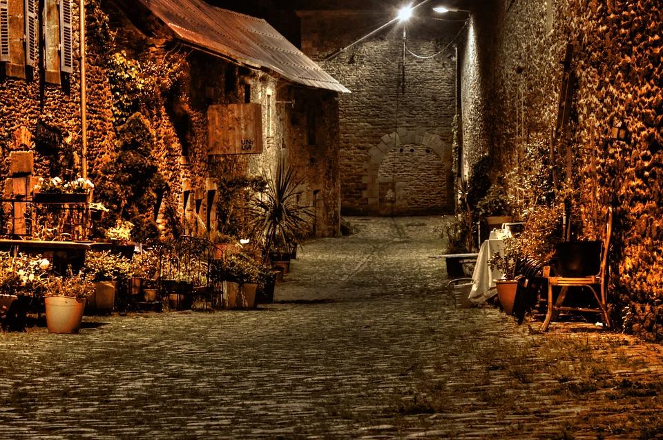 Street, Lane, Night, Old, Pavement, Pierre, Floor Lamp