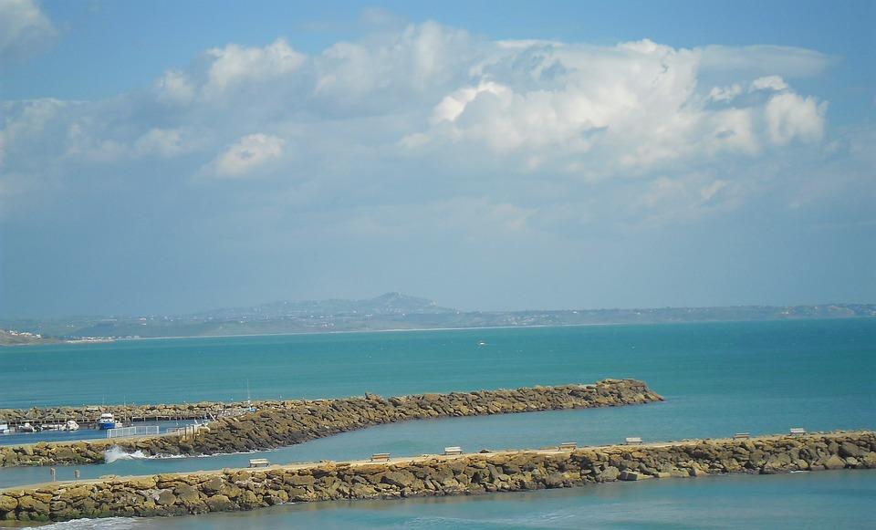 Marinella, Italy, Pier, Piers, Stone, Stones, Sky