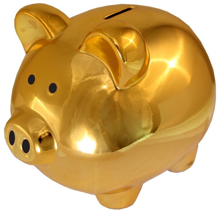 Piggy Bank, Golden-saving Sham, Save, Money, Pig