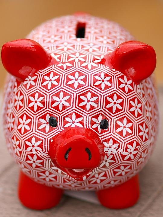 Piggy Bank, Red, White, Save, Pig, Money, Savings Bank