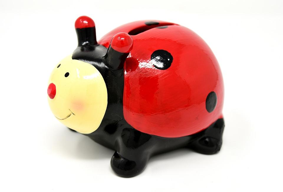 Ladybug, Piggy Bank, Save, Cute, Figures, Funny