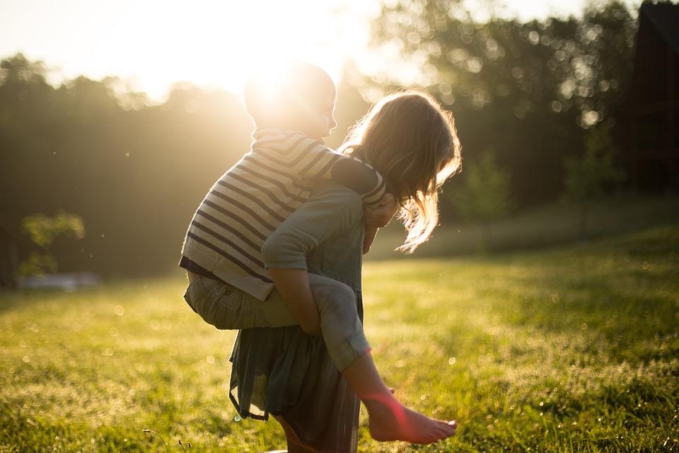 Boy, Piggyback, Siblings, Children, Cute, Girl, Grass