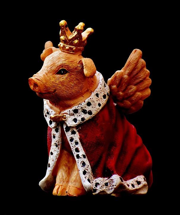 Guardian Angel, Piglet, Figure, Crown