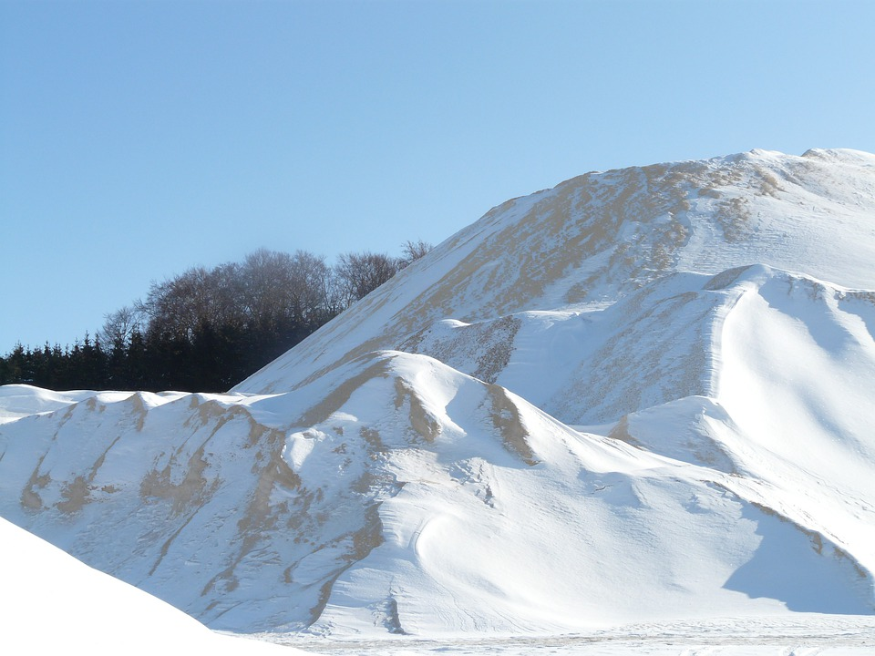 Mountain, Piles, Sand, Wintry, Snow, White, Cold