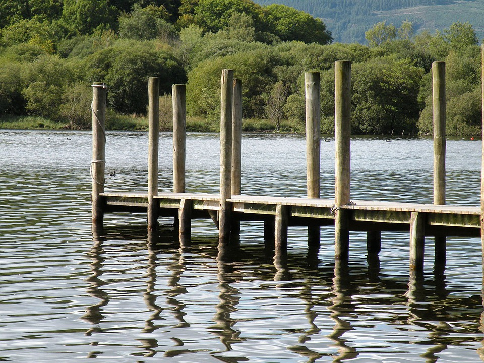 Dock, Pier, Pilings, Lake, Water, Wooden, Reflections