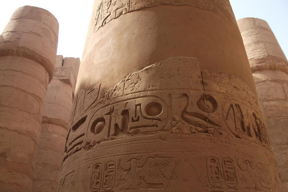 Egypt, Columnar Temple, Pillar, Large, Imposing